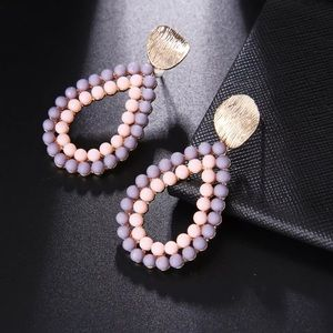 Gold Tone teardrop pearl beaded earrings